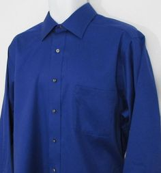Men Izod Dress Shirt 100% Twill Cotton Indigo Blue sz 16 1/2 X 34 / 35 #IZOD