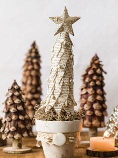 DIY Book Page Christmas Tree How To - Olivia OHern Pine Cone Christmas Tree, Cozy Christmas, Homemade Christmas, Simple Christmas, Christmas Craft Projects, Holiday Crafts, Pine Cone Decorations, Christmas Decorations, Xmas Gifts