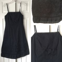 Express Black Strappy A-Line Dress With Embroidery