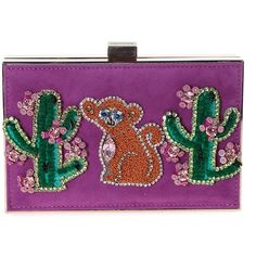 Boxy Monkey Cactus Embellished Suede and Metal Clutch (430 CAD) ❤ liked on Polyvore featuring bags, handbags, clutches, viola, womenbagsclutches, embellished purse, purple suede handbag, boxy handbags, suede clutches and boxy purse