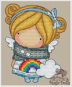 Easy Cross Stitch Patterns, Simple Cross Stitch, Cross Stitch Horse, Stitch Doll, French Knots, Couture, Ribbon Embroidery, Doll Patterns, Rainbow