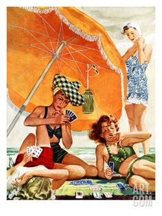 """Card Game at the Beach,"" August 28, 1943 Giclee Print by Alex Ross at Art.com"