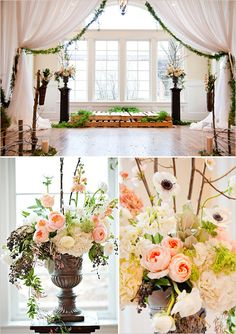 Love the use of these rustic wood pallets as staging for a ceremony, just not sure how practical with heels and such, but very cool look with all the soft feminine floral and fabrics.