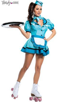 Retro Diner Babe Costume, Sexy Diner Girl Halloween Costumes, Retro Diner Waitress Costumes