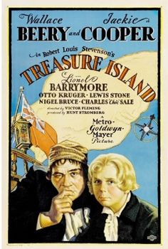 "Treasure Island is a 1934 film adaptation of Robert Louis Stevenson's famous 1883 novel Treasure Island. Jim Hawkins (Jackie Cooper) discovers a treasure map and travels on a sailing ship to a remote island, but pirates led by Long John Silver (Wallace Beery) threaten to take away the honest seafarers' riches and lives.  Poster Measures 18 x 24"" and, as always, FREE Shipping is included."