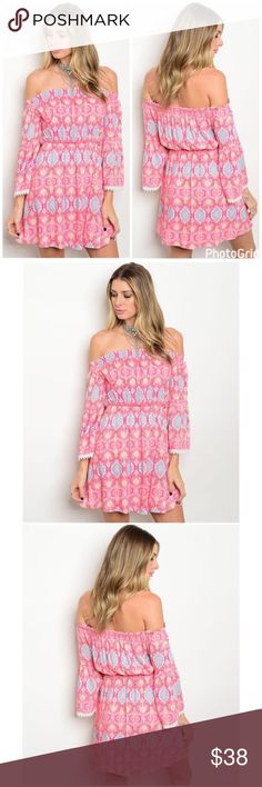 Spotted while shopping on Poshmark: LAST 2❣️Off the Shoulder Boho Pink Paisley Dress! #poshmark #fashion #shopping #style #GlamVault #Dresses & Skirts