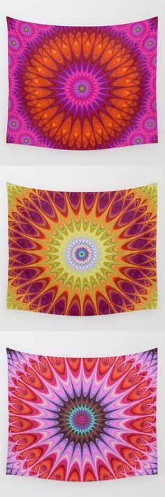 Sun - star Mandala wall tapestry collection. Mandala - boho chic - hippie - indian - ornament - kaleidoscope tapestries - wall hangings.