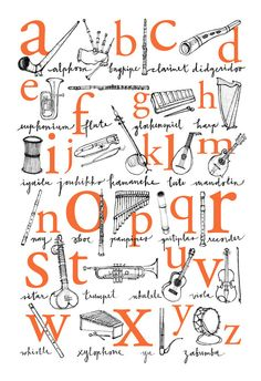 Alphabet Poster: A to Z of Musical Instruments - 13x19, 12x18 Illustrated Print in four colors. $34.00, via Etsy.