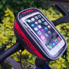 Name:Bicycle Handlebar Mobile Phone Bag Material:PVC+leather,Oxford fabric Color:Red,Blue,Green,Gray,Four color optional Size:Size:5.5 Inches(2.76*3.94*7.1Inch)  Hold this phone package, allowing you to easily receive calls in the ride!