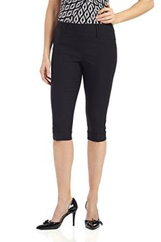 "Rekucci Womens ""Ease In To Comfort Fit"" Skinny Cuffed Capri (8,Black) -- Find out more details @"