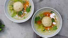 This vegan matzo ball soup recipe from Vegan: The Cookbook isn't just for Passover! Enjoy this delicious soup any time of year. Vegan Matzo Ball Recipe, Tortellini, Ravioli, Matzo Meal, Jewish Recipes, Chicken Soup Recipes, Vegan Soup, Delicious Vegan Recipes, Vegetarian Recipes