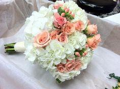 Garden Rose and Hydrangea Bouquet | peach and hydrangea bride bouquet