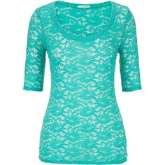 maurices Elbow Length Sleeve Scoop Neck Lace Tee found on Polyvore featuring polyvore, fashion, clothing, tops, t-shirts, shirts, sea green, floral print t shirt, lace t shirt and floral shirt