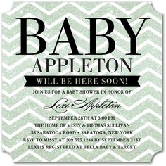 Expectant Sparkles: Green Tea - Baby Shower Invitations in Green Tea | Hello Little One