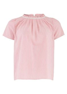 collar detail.  that pleating will take an age to do!  Ava Blouse in Coral Stripe