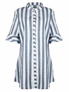 Blue Stripe Button Placket Longline Shirt