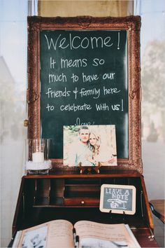 Welcome chalkboard and guestbook. Captured By: Lauren Scotti Photography ---> http://www.weddingchicks.com/2014/06/06/shabby-chic-plaza-wedding/