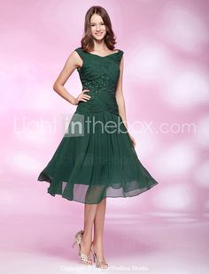 TS Couture® Cocktail Party / Holiday / Wedding Party Dress - 1920s Plus Size / Petite A-line / Princess Bateau Knee-length Chiffon with Beading 2016 - $94.99