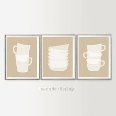 Printable decor set of 3 kitchen art coffee Mugs by SimpleSerene2