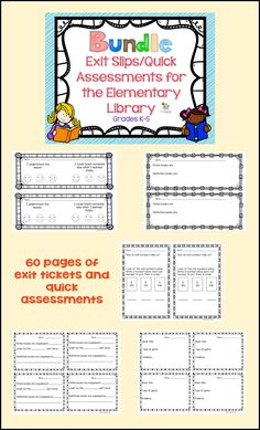 Elementary Library Lesson Plans Beautiful Exit Tickets for the Elementary Library Grades K 5 Bundle Elementary Art Lesson Plans, Library Lesson Plans, Library Skills, Library Lessons, Library Science, Library Activities, Library Themes, Library Ideas, Elementary School Library