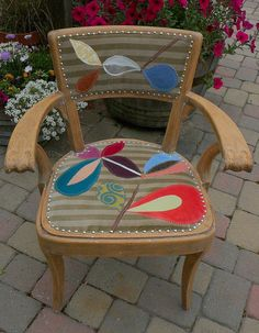 Im too Rexy for my Seat: upcycled vintage chair upholstered with handmade stylized leaf collage on Etsy, $375.00