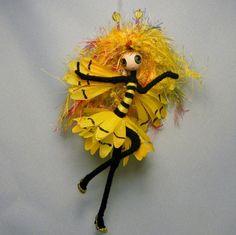 Bumble Bee Girl OOAK Spring Garden Flower Fairy Art Doll by Rhiannon