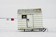 Ontario Snapped on March 14, the last day of Ontario's winter fishing season, this image depicts a hobbit-sized hut about to be pulled off Lake Simcoe atop a sled.