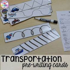 Transportation Math and Literacy Centers are loaded with fun, hands on transportation themed activities to help your students build math and literacy concepts! Literacy skills covered are letter identification, beginning sounds, building vocabulary words, Preschool Writing, Preschool Lessons, Preschool Classroom, Classroom Activities, Literacy Skills, Literacy Centers, Kindergarten Centers, Kindergarten Literacy, Pre Writing