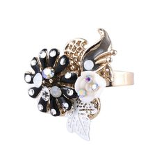 [$18.00] Gold Silver Flower and Leaves CZ Rhinestone Adjustable Ring - Free Shipping