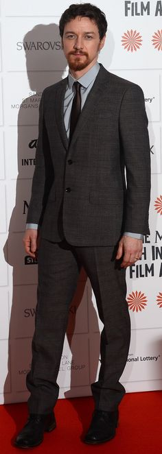 British actor James McAvoy wearing Burberry tailoring to receive Best Actor at the British Independent Film Awards in London
