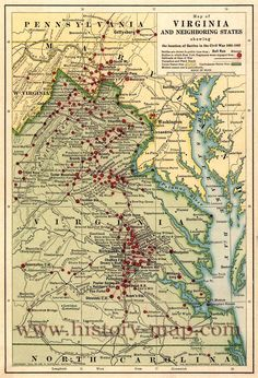 "Map of eastern Virginia and parts of North Carolina, Maryland, West Virginia, and Pennsylvania, showing ""battles in which New York regiments were engaged,"" ""railroads at time of the civil war,"" and ""turnpikes and plank roads."" Union states are colored yellow, and Confederate states are green."