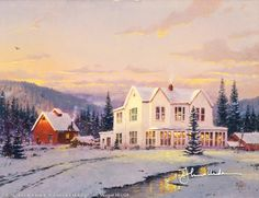 The Lights of Home by Thomas Kinkade ~~ I've attempted to render an epic subject on a miniature scale. I've portrayed a grandiose two-story Victorian home, flanked by rustic workshop and barn with the farmer's fields stretching away under a blanket of snow.