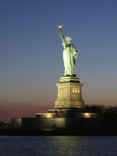 Night shot of the Statue of Liberty, New York City, U.S.A.
