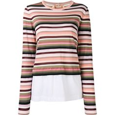 Nº21 layered striped jumper ($460) ❤ liked on Polyvore featuring tops, sweaters, white, multi color sweater, striped jumper, stripe sweaters, white jumper and white top