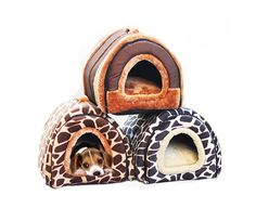 VICTORY,Cute Strawberry Puppy Small Cotton Soft Dog Cat Kitten S,M,L Size Pet Bed Indoor House with Removable Warm Plush Pad Puppy Dog Leopard Design * You can find more details by visiting the image link.