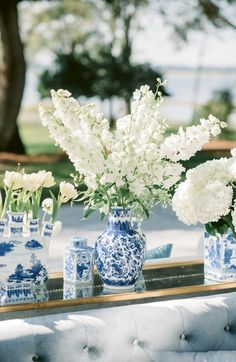 Blue and White Ginger Jars With White Flowers / Chinoiserie Wedding Vases, Wedding Flower Arrangements, Floral Wedding, Floral Arrangements, Wedding Flowers, Blue Wedding, Wedding Dresses, Bridal Shower Decorations, Wedding Decorations