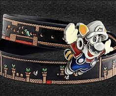 Super Mario World Belt . The Super Mario World belt is geek chic at it's best. This custom made belt sports an eye-catching flying M. Super Mario Cat, Lego Super Mario, Super Mario Games, Super Mario World, Super Mario Bros, Cool Gifts, Best Gifts, Amazing Gifts, The Ultimate Gift
