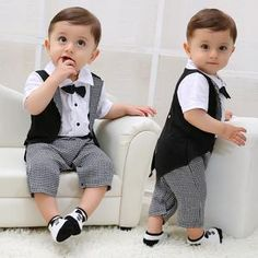 Toddler Baby Boys Gentleman Bowtie Plaid Swallowtail Romper Jumpsuit Outfits