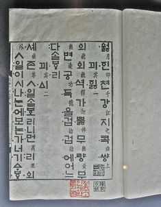 First printed Hangul type, 1447. Hangul was created during the Joseon Dynasty in 1443, now the official script of both South Korea and North Korea. In explaining the need for the new script, King Sejong explained that the Korean language was fundamentally different from Chinese; using Chinese hanja to write was so difficult for the common people that only privileged aristocrats could read and write fluently. The majority of Koreans were effectively illiterate before the invention of Hangul.