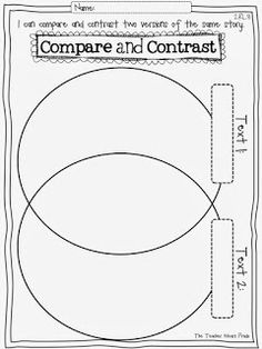 Common Core Reading Response Pages, compare and contrast worksheet