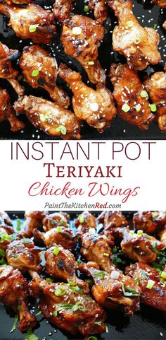 Instant Pot Teriyaki Wings make a finger-licking-good appetizer, and are perfect for a party.  This easy Instant Pot chicken wing recipe has delicious Asian flavors that will delight your guests and become a favorite. #instantpot #teriyaki #chickenwings     via @paintkitchenred