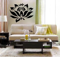 Stemless LOTUS Flower vinyl Wall DECAL Art sticker by EyvalDecal
