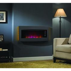 Matias 36 in. Glass Front Wall/Stand Electric Fireplace in Black ...