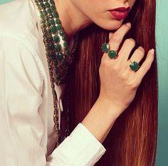 """Emerald color """"La Diamantine"""" now available on our online shop. #lesnereides #lesnereidesparis #jewellery #paris #aw13 #bijoux"""