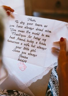 Wedding Gift Idea For Mothers Or Bride Groom Handkerchief With Personalized Message And