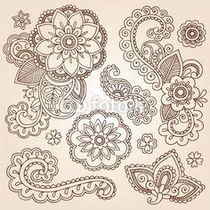 Mandala Tattoo Designs | Vector: Henna Paisley Mandala Tattoo Doodle Vector Design Elements Set
