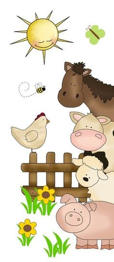Barnyard Farm Animals Decal Wall Art Mural Stickers Baby Girl Nursery Door Decor #decampstudios