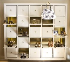 peek-a-boo shoe storage at Cynthia Vincent's NYC Flagship - i could replicate this with the ikea tv unit thing we have Shoe Storage Furniture, Ikea Storage, Storage Spaces, Storage Ideas, Hemnes, Ikea Hacks, Expedit Hack, Kallax Regal, Peek A Boo