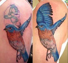 Need to cover up a horrible tattoo? Want to put an awesome design over it? Learn what can be done with a cover-up, and view some beautiful cover-up tattoo ideas. Old Tattoos, Cover Up Tattoos, Sleeve Tattoos, Tattoo Makeup Coverup, Makeup Tattoos, Tattoo Son, Back Tattoo, Horrible Tattoos, Tattoo Shading