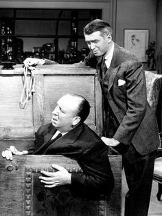 Jimmy Stewart and Alfred Hitchcock on the set of ROPE